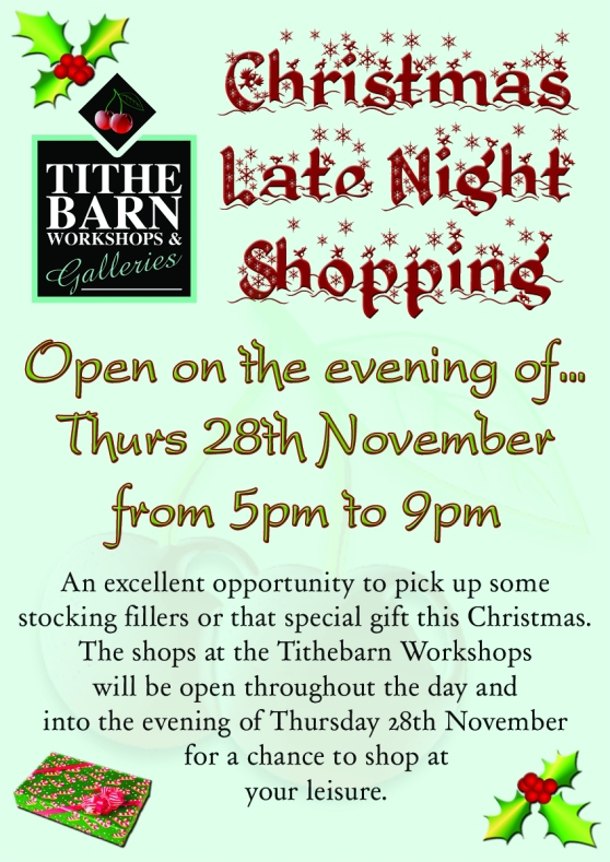 christmas late night  opening at the tithebarn workshops